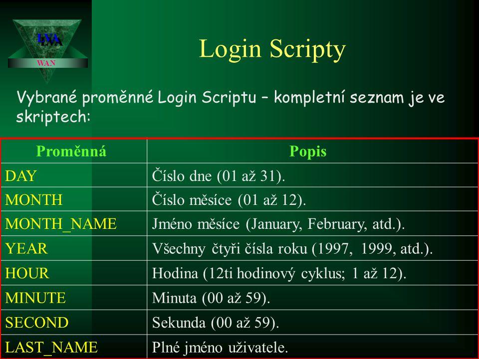 LVA Login Scripty. WAN. Vybrané proměnné Login Scriptu – kompletní seznam je ve skriptech: Proměnná