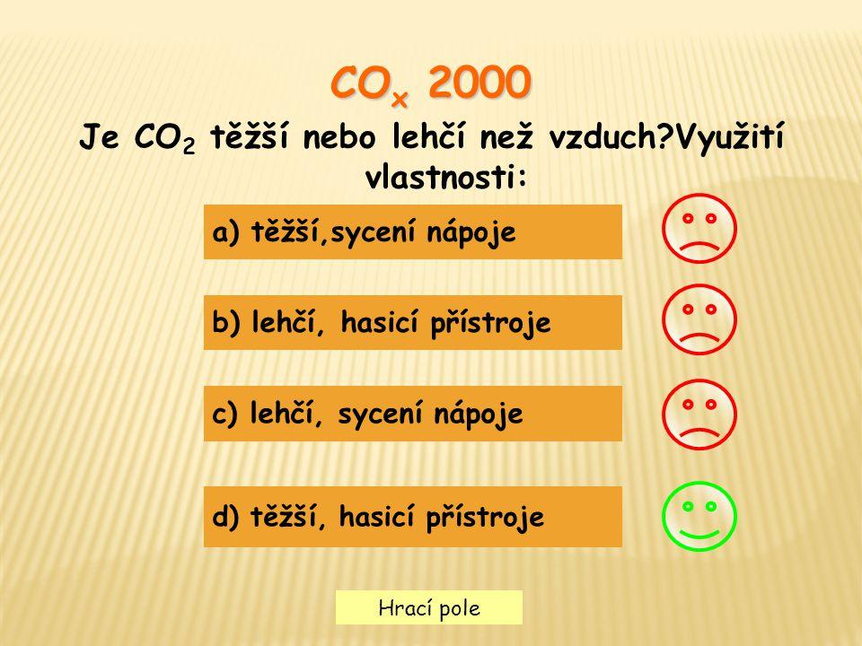 Je CO2 těžší nebo lehčí než vzduch Využití vlastnosti:
