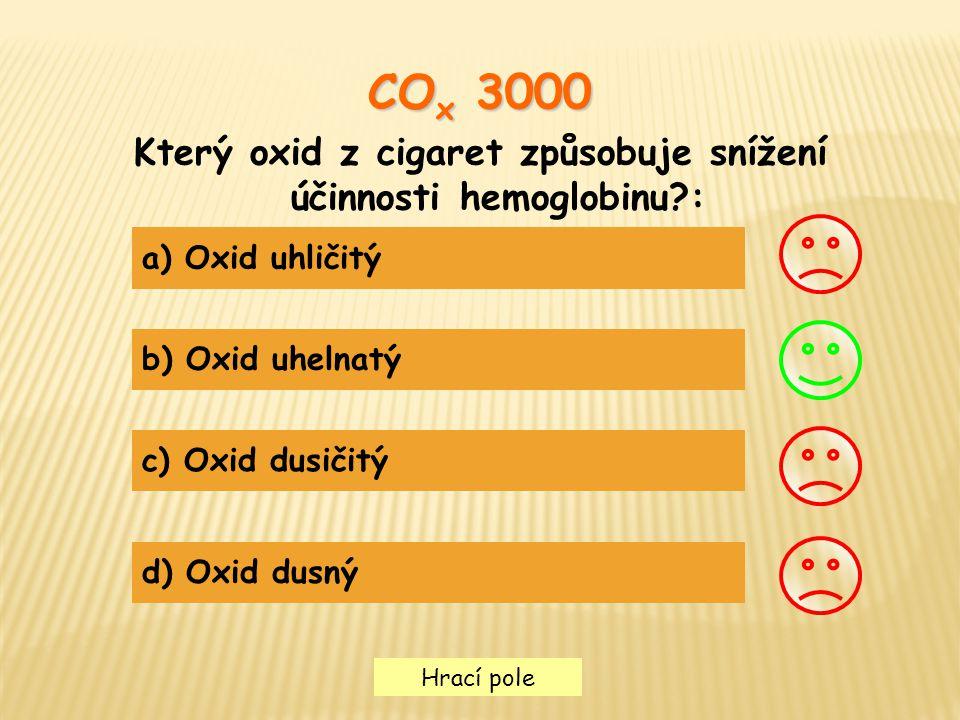 Který oxid z cigaret způsobuje snížení účinnosti hemoglobinu :