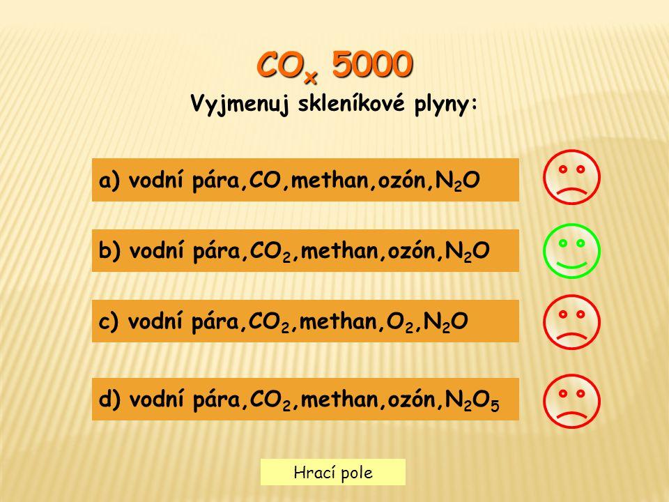Vyjmenuj skleníkové plyny: