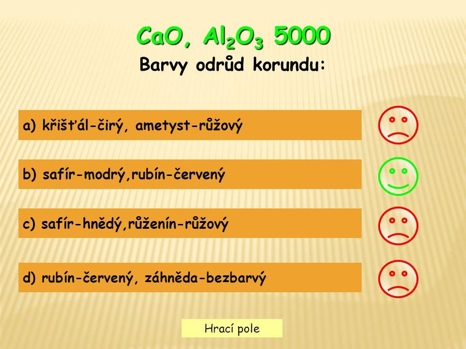 CaO, Al2O3 5000 Barvy odrůd korundu: a) křišťál-čirý, ametyst-růžový