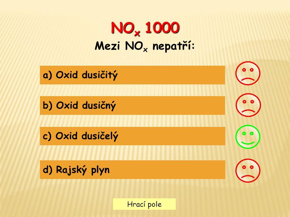 NOx 1000 Mezi NOx nepatří: a) Oxid dusičitý b) Oxid dusičný