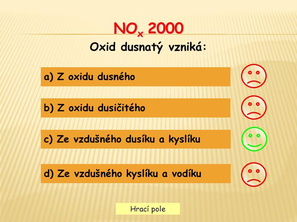 NOx 2000 Oxid dusnatý vzniká: a) Z oxidu dusného b) Z oxidu dusičitého