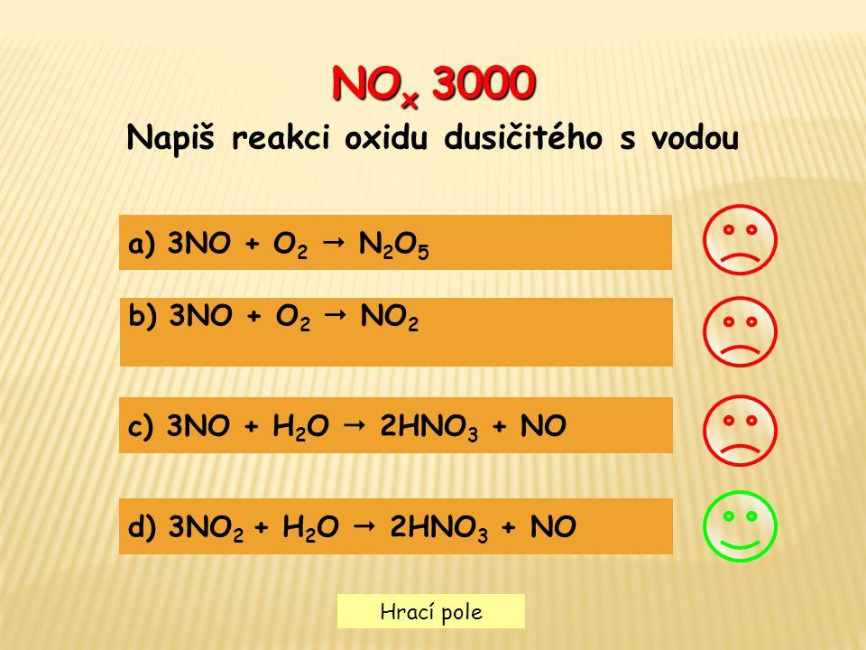 Napiš reakci oxidu dusičitého s vodou