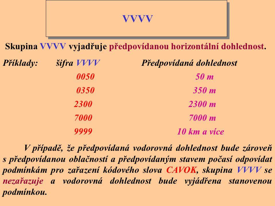 VVVV Skupina VVVV vyjadřuje předpovídanou horizontální dohlednost.