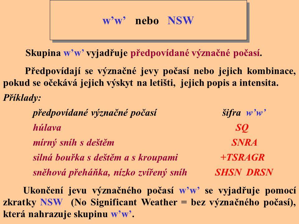 w'w' nebo NSW Skupina w'w' vyjadřuje předpovídané význačné počasí.