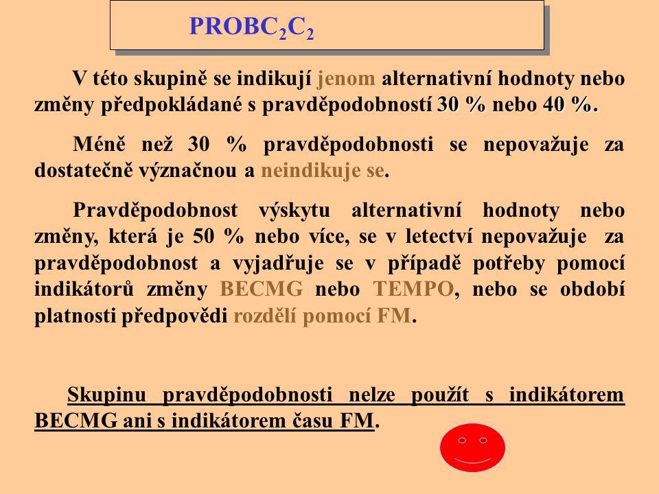 PROBC2C2 V této skupině se indikují jenom alternativní hodnoty nebo změny předpokládané s pravděpodobností 30 % nebo 40 %.