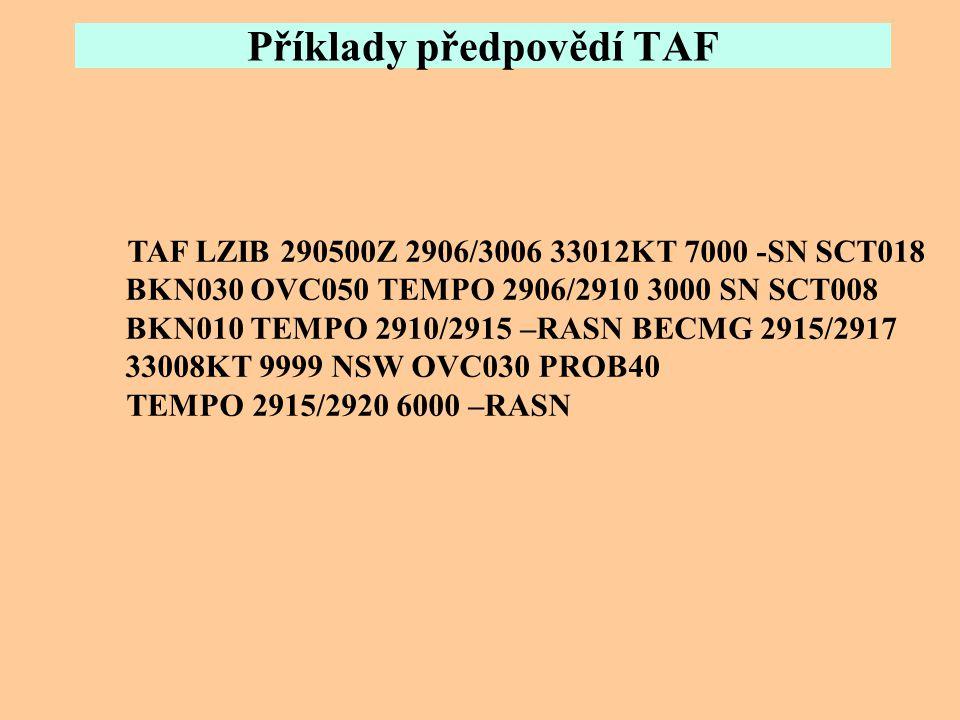 Příklady předpovědí TAF