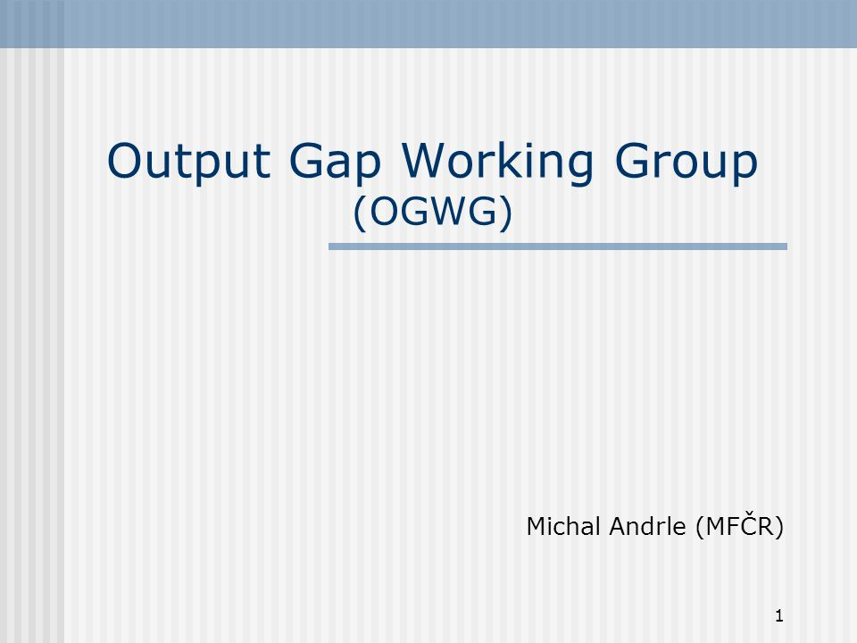 Output Gap Working Group (OGWG)