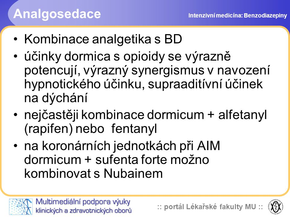 Kombinace analgetika s BD