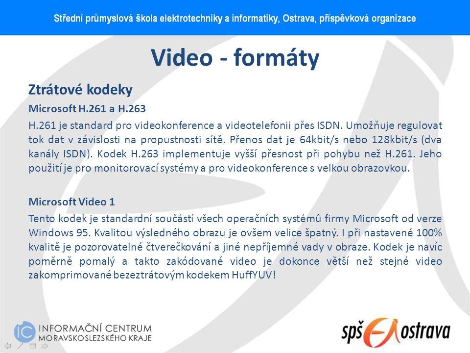 Video - formáty Ztrátové kodeky Microsoft H.261 a H.263