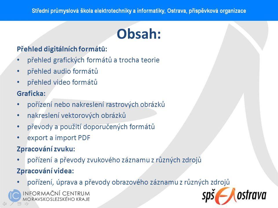 Obsah: Přehled digitálních formátů: