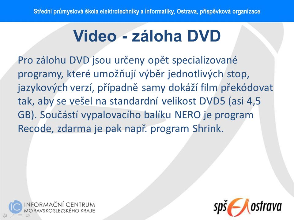 Video - záloha DVD