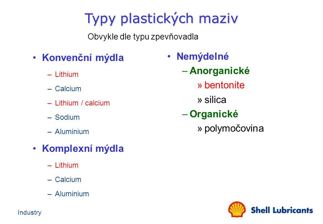 Typy plastických maziv