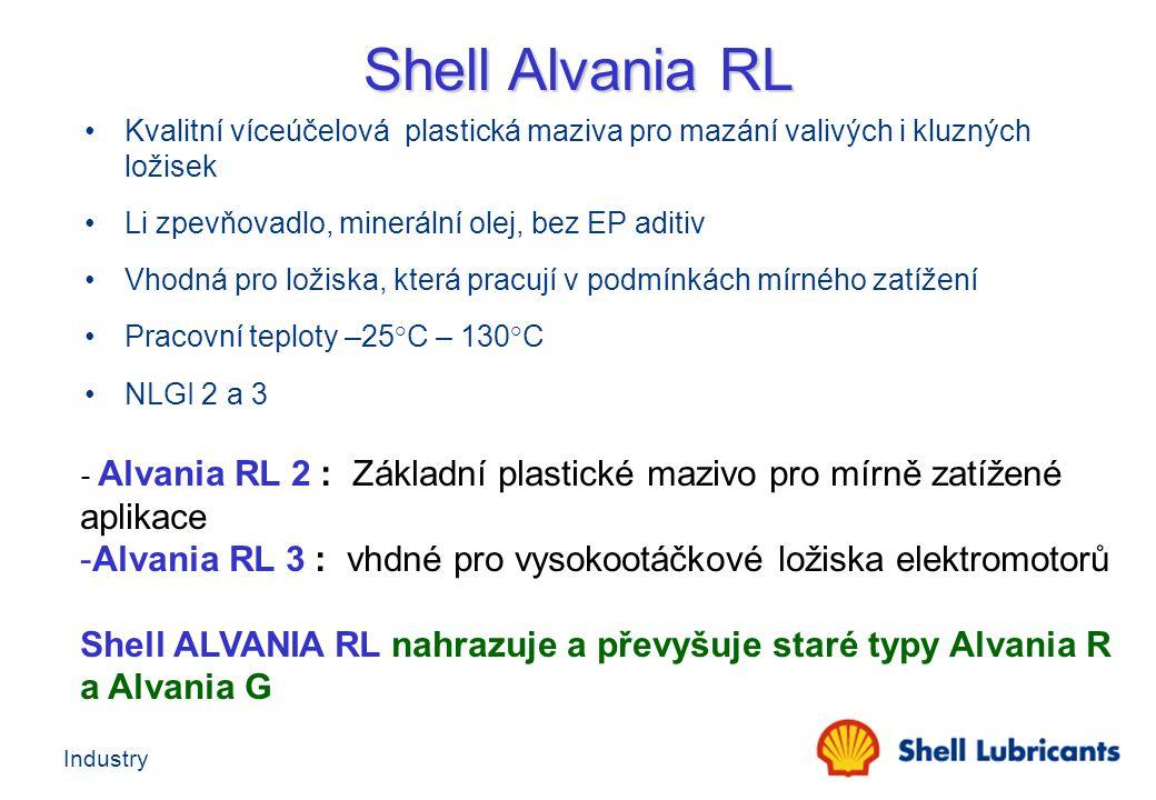 Shell Alvania RL Kvalitní víceúčelová plastická maziva pro mazání valivých i kluzných ložisek. Li zpevňovadlo, minerální olej, bez EP aditiv.