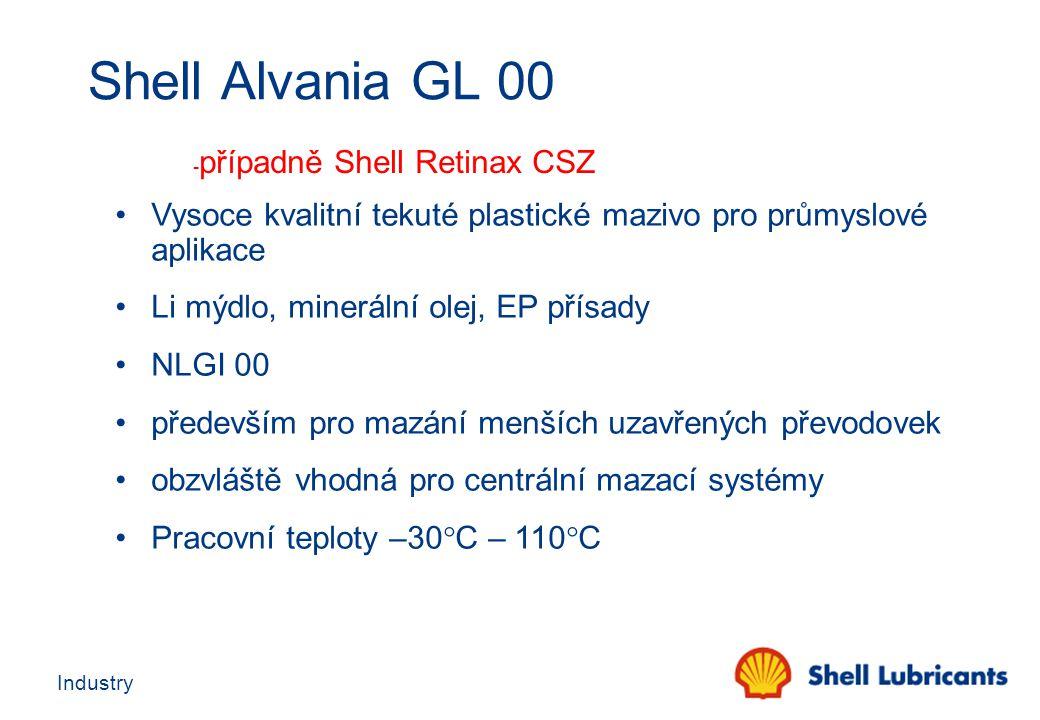 Shell Alvania GL 00 -případně Shell Retinax CSZ. Vysoce kvalitní tekuté plastické mazivo pro průmyslové aplikace.
