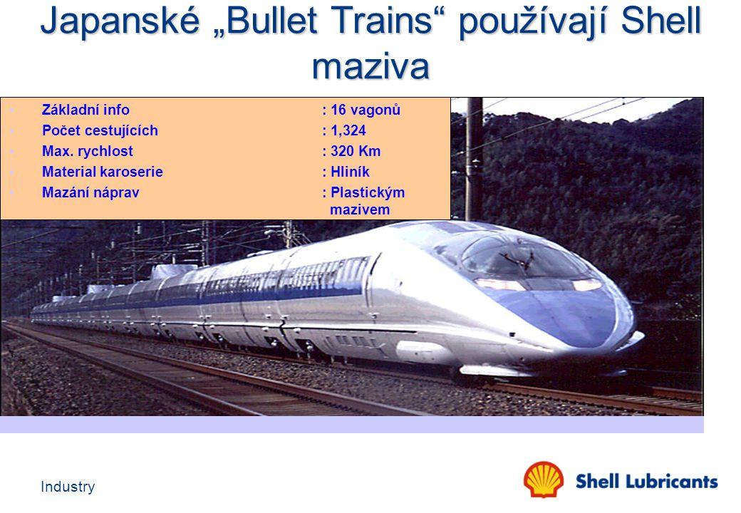 """Japanské """"Bullet Trains používají Shell maziva"""
