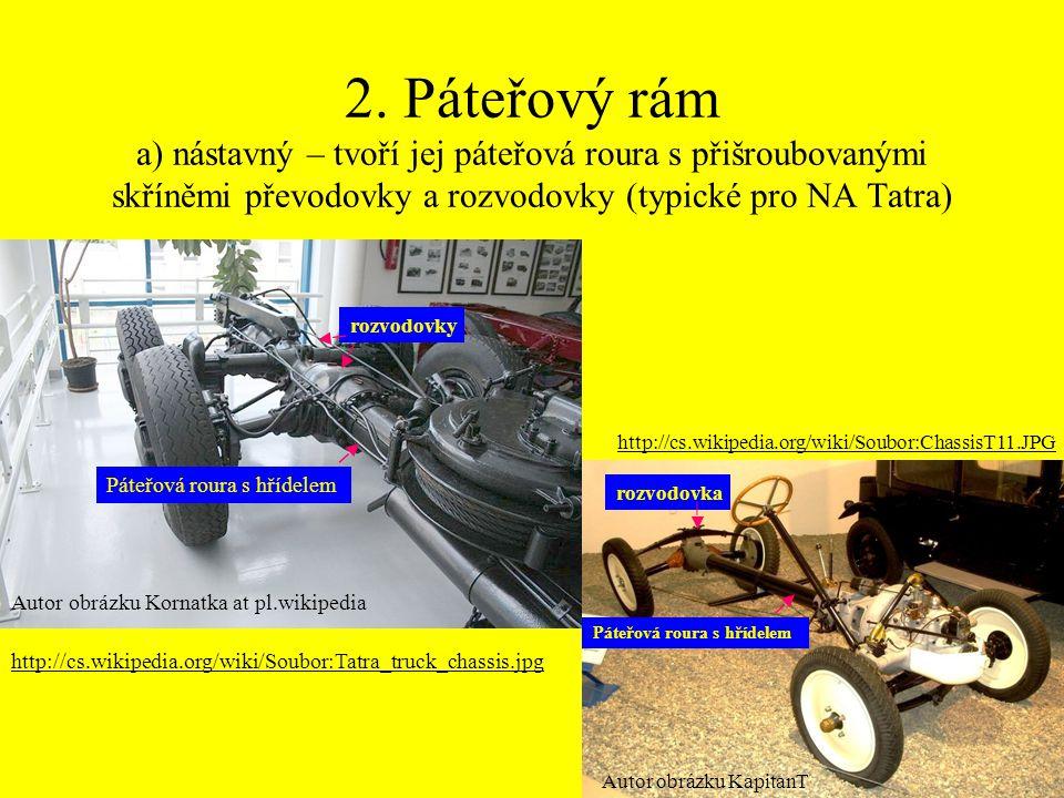 2. Páteřový rám a) nástavný – tvoří jej páteřová roura s přišroubovanými skříněmi převodovky a rozvodovky (typické pro NA Tatra)