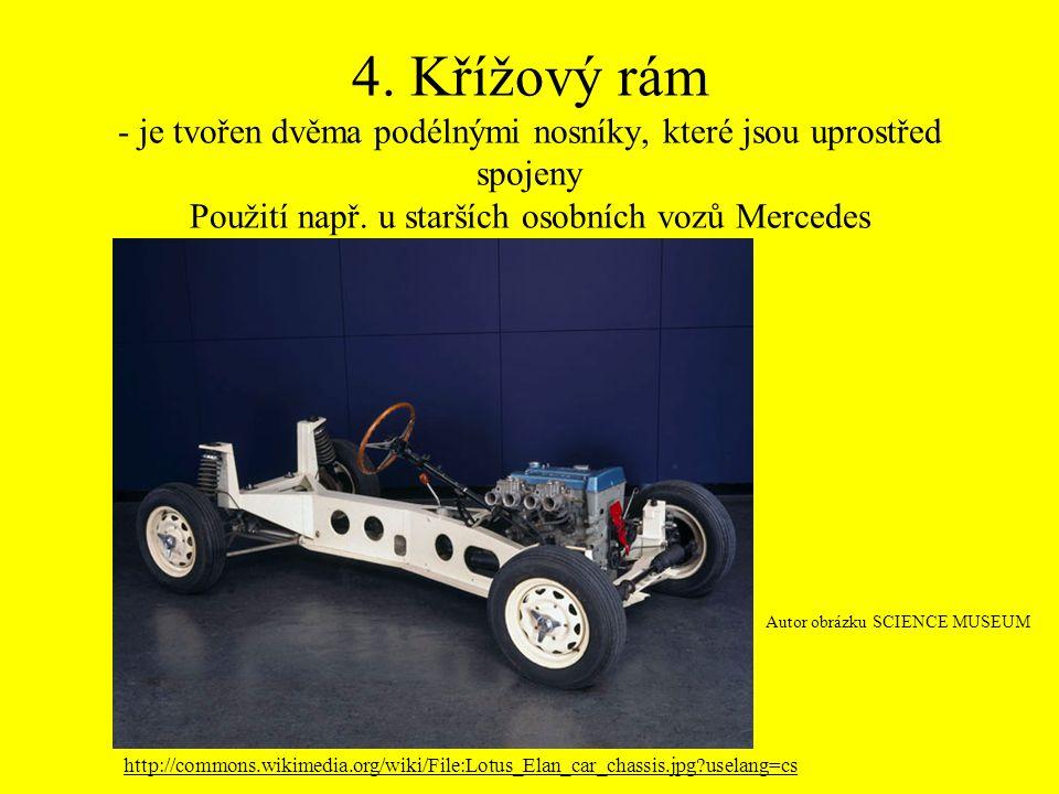 4. Křížový rám - je tvořen dvěma podélnými nosníky, které jsou uprostřed spojeny Použití např. u starších osobních vozů Mercedes