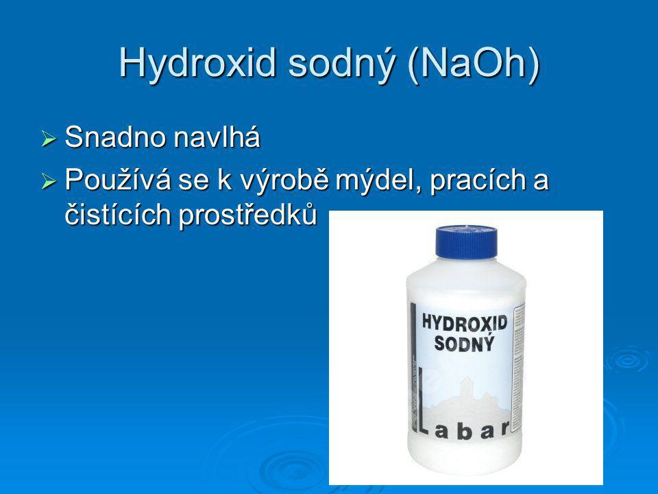 Hydroxid sodný (NaOh) Snadno navlhá