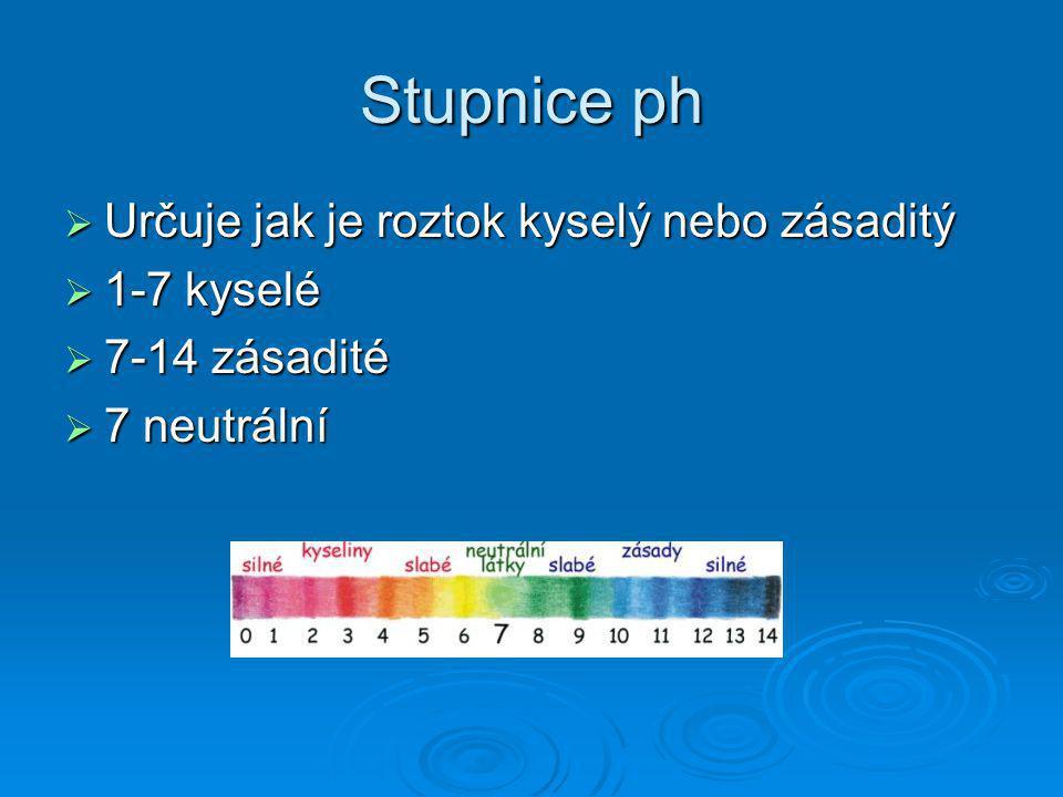 Stupnice ph Určuje jak je roztok kyselý nebo zásaditý 1-7 kyselé
