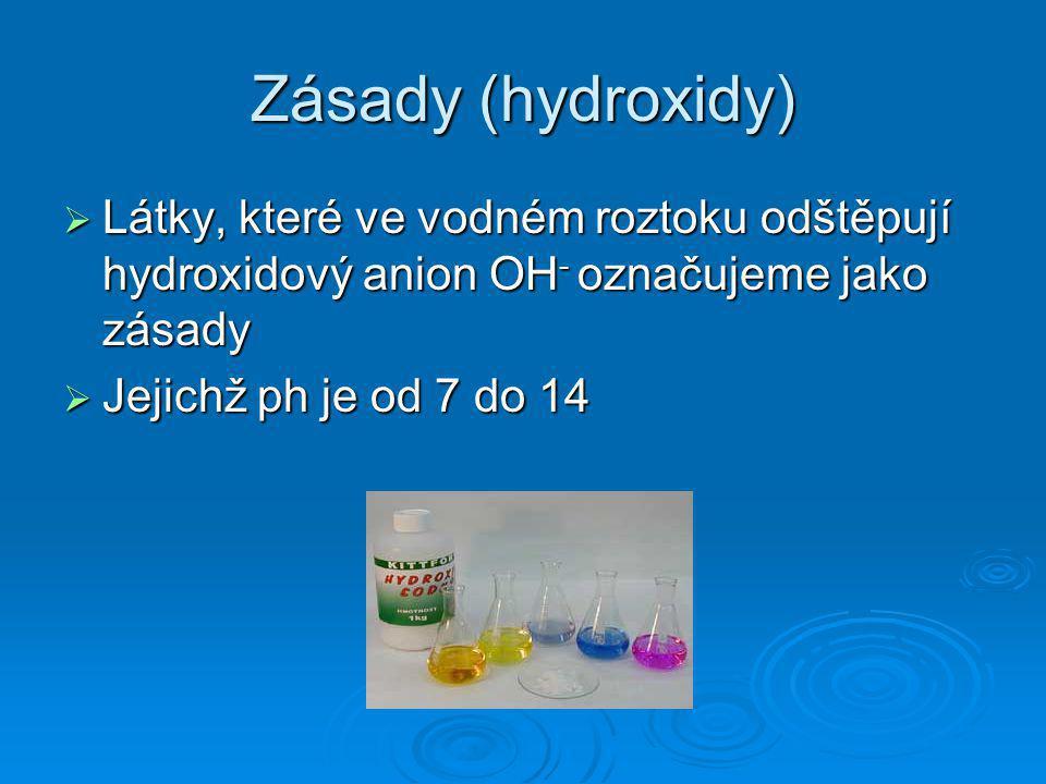 Zásady (hydroxidy) Látky, které ve vodném roztoku odštěpují hydroxidový anion OH- označujeme jako zásady.