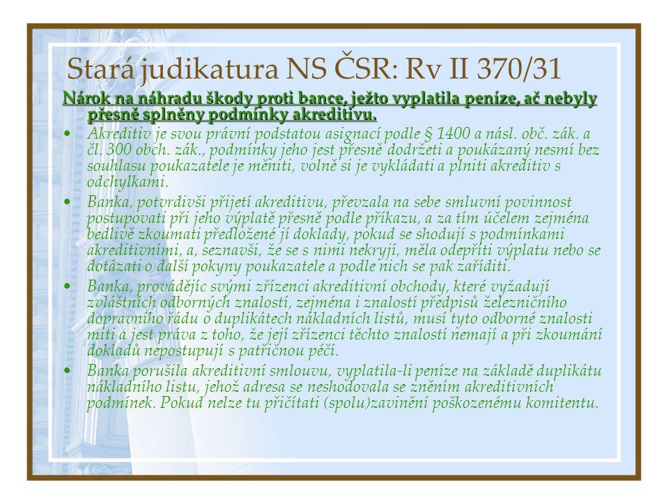 Stará judikatura NS ČSR: Rv II 370/31