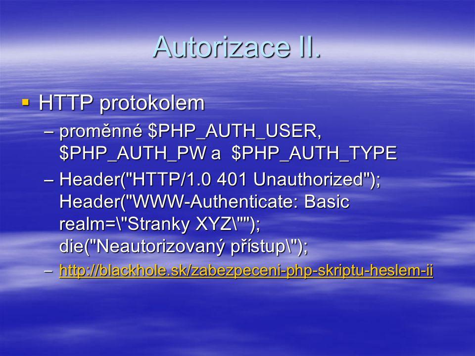 Autorizace II. HTTP protokolem