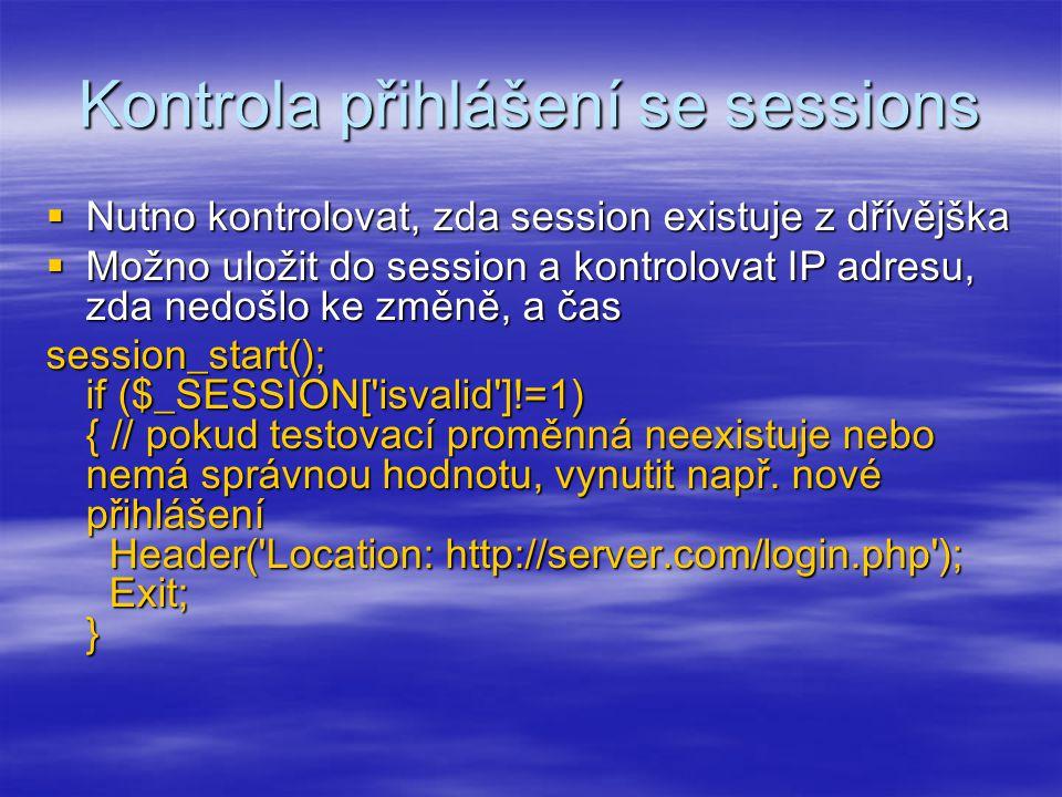 Kontrola přihlášení se sessions