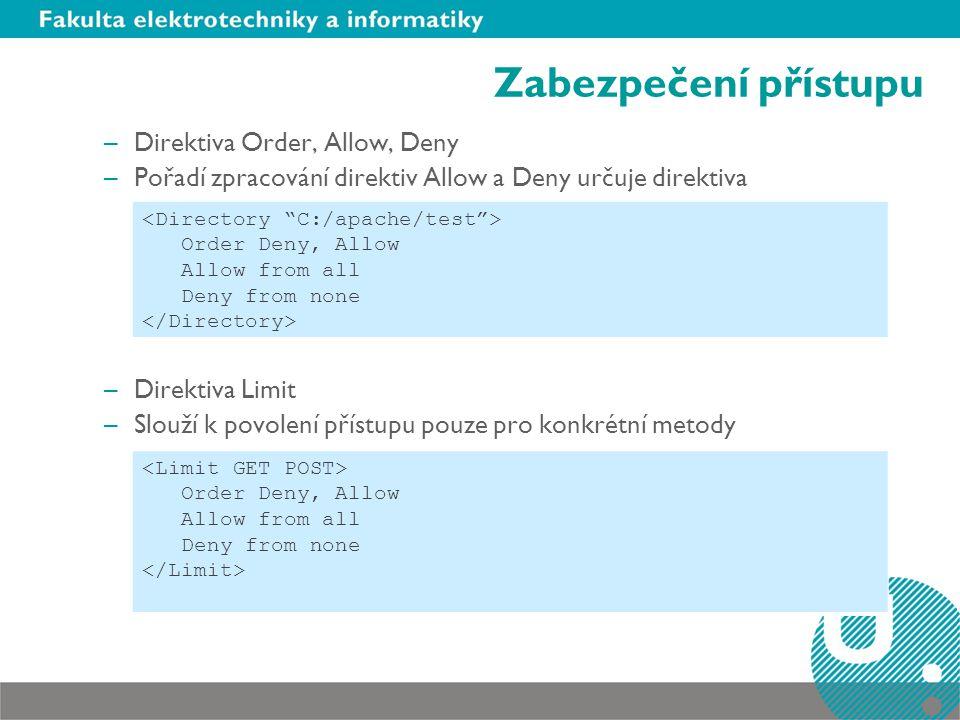 Zabezpečení přístupu Direktiva Order, Allow, Deny
