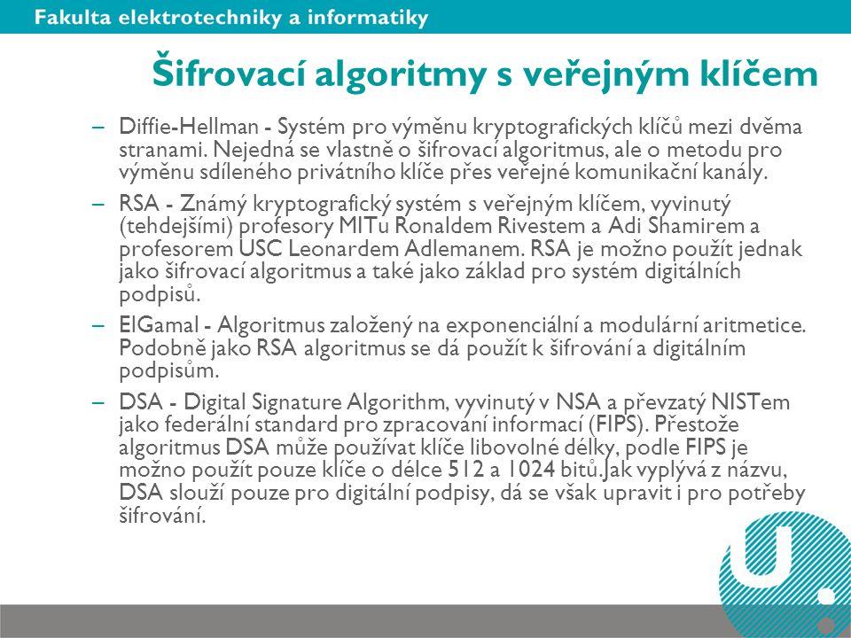 Šifrovací algoritmy s veřejným klíčem