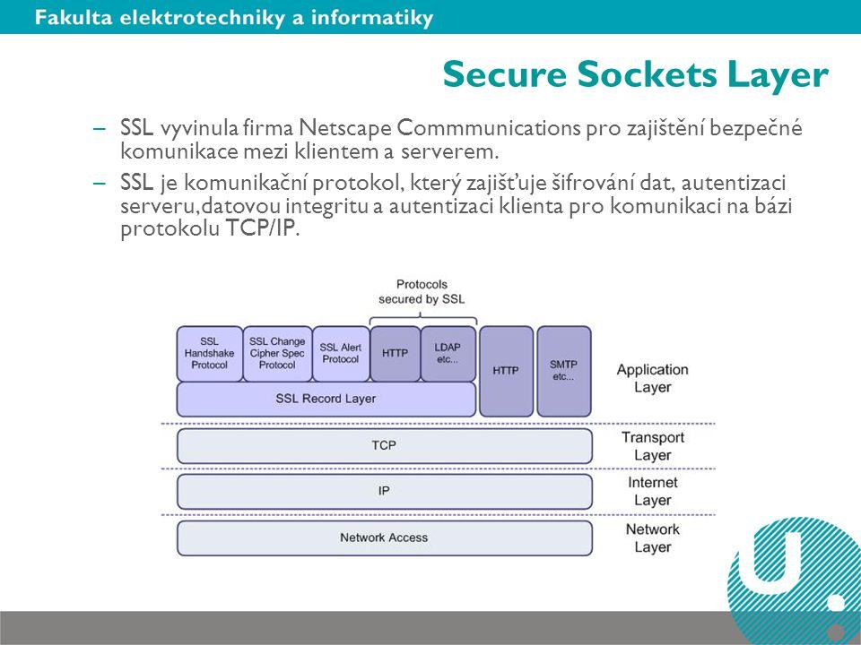 Secure Sockets Layer SSL vyvinula firma Netscape Commmunications pro zajištění bezpečné komunikace mezi klientem a serverem.