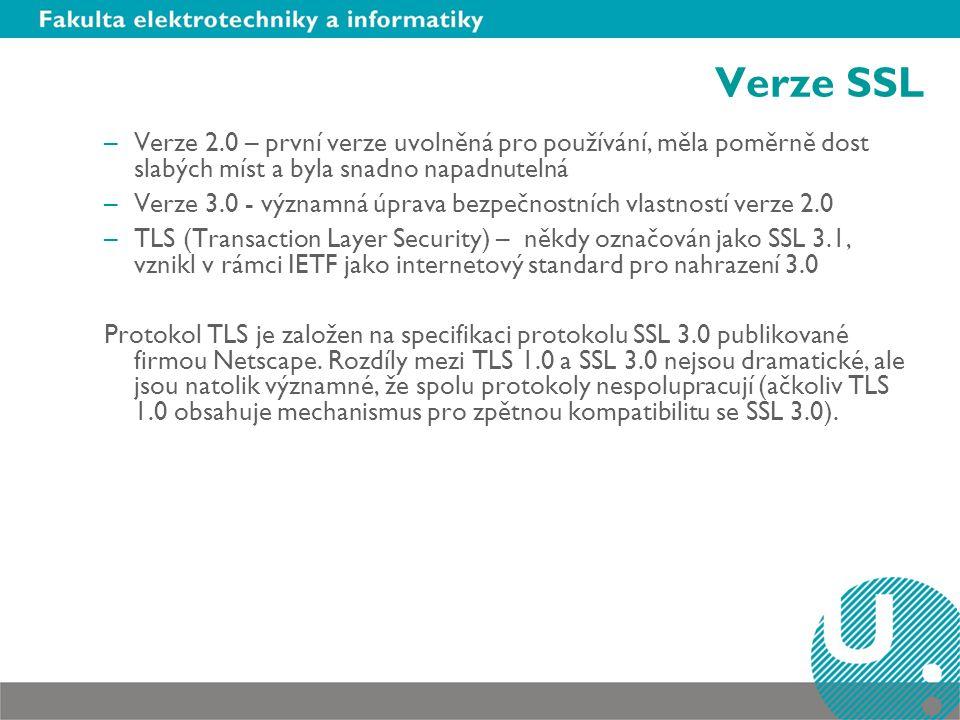 Verze SSL Verze 2.0 – první verze uvolněná pro používání, měla poměrně dost slabých míst a byla snadno napadnutelná.