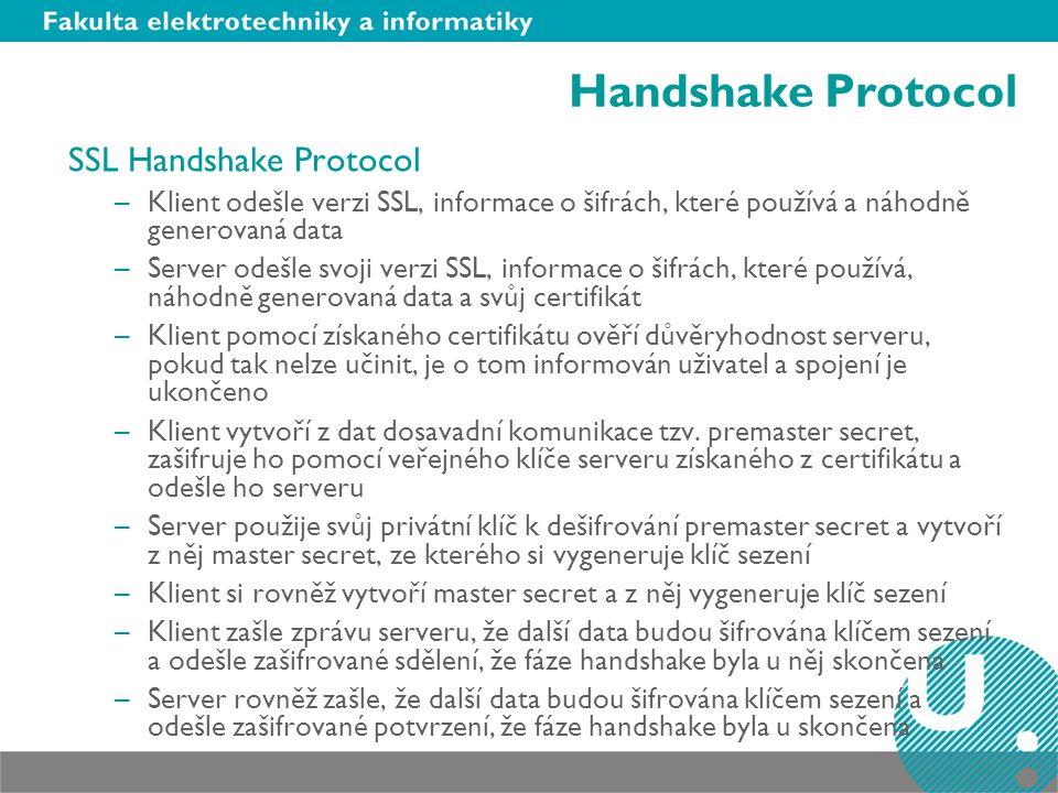 Handshake Protocol SSL Handshake Protocol