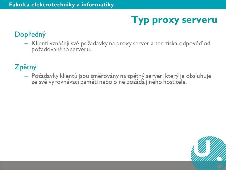 Typ proxy serveru Dopředný Zpětný