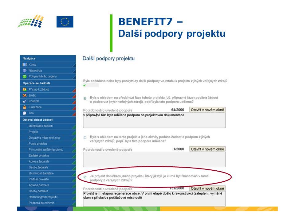 BENEFIT7 – Další podpory projektu