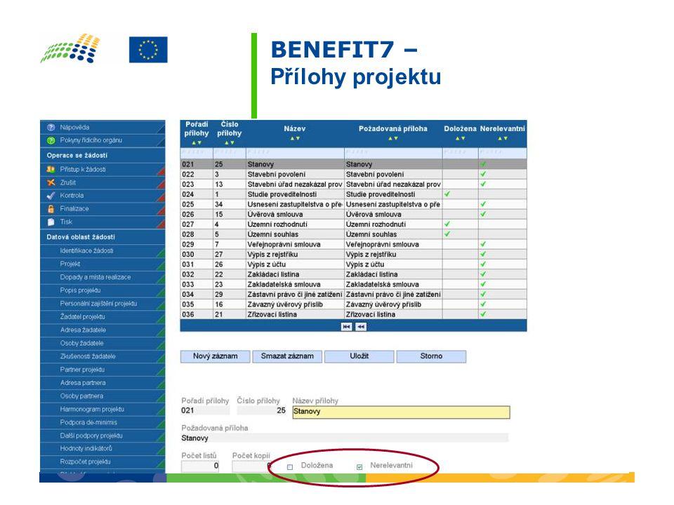 BENEFIT7 – Přílohy projektu