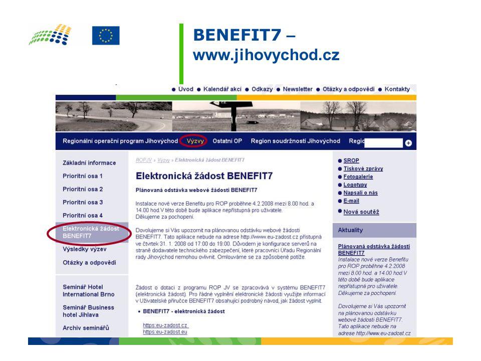 BENEFIT7 – www.jihovychod.cz