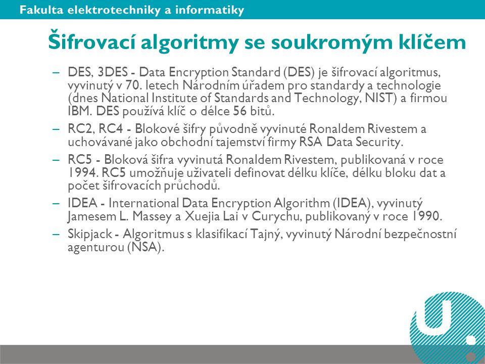 Šifrovací algoritmy se soukromým klíčem