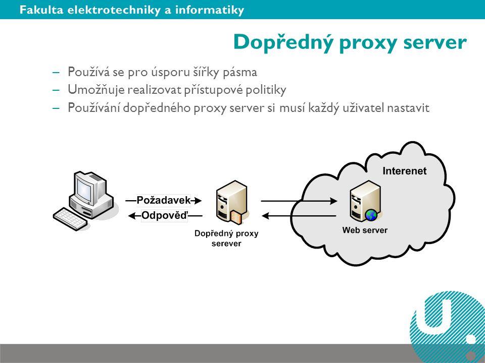 Dopředný proxy server Používá se pro úsporu šířky pásma