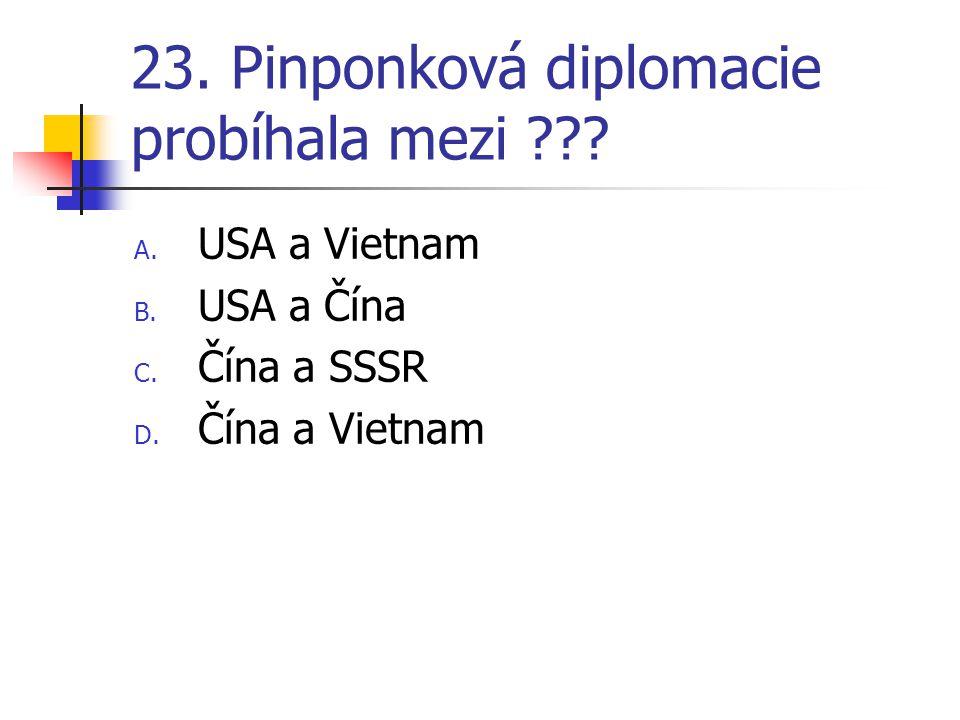 23. Pinponková diplomacie probíhala mezi