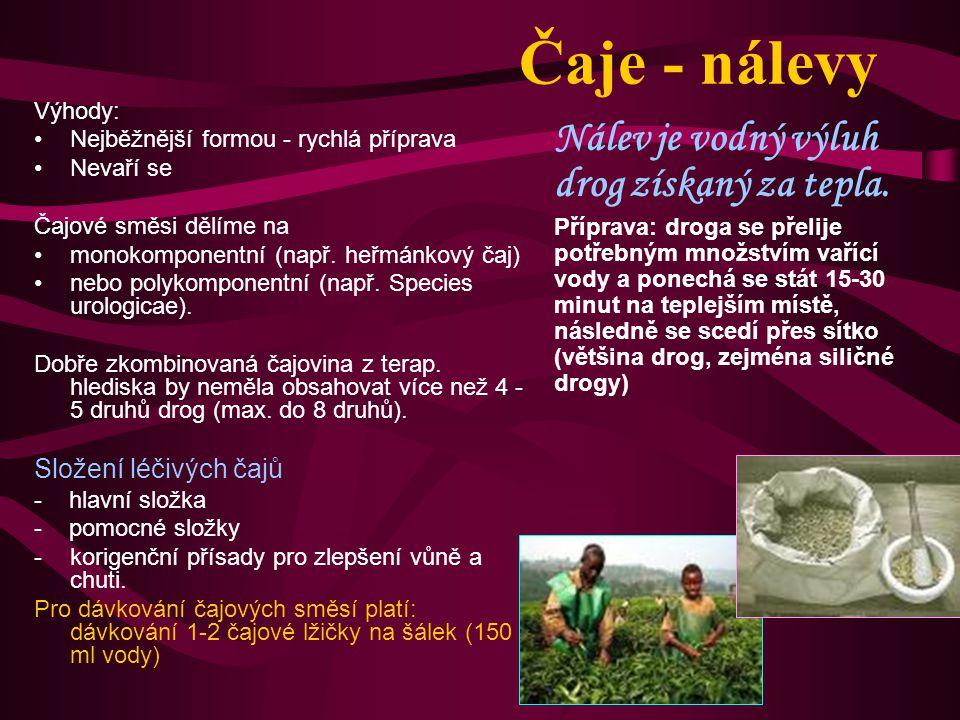 Čaje - nálevy Nálev je vodný výluh drog získaný za tepla.