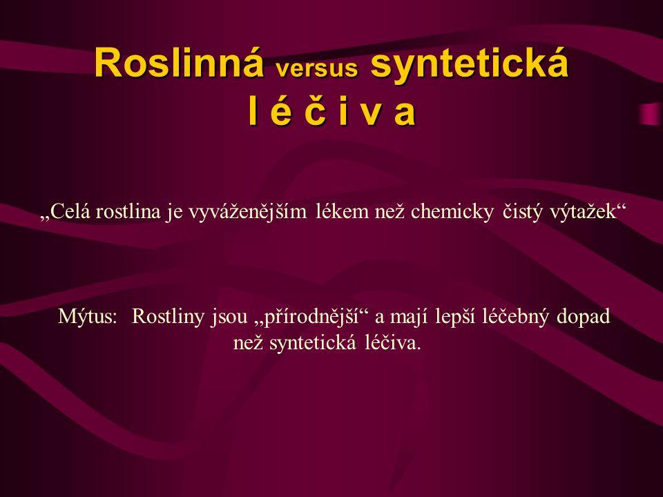 Roslinná versus syntetická l é č i v a