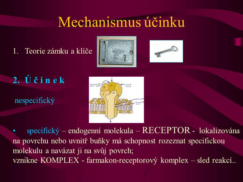 Mechanismus účinku 2. Ú č i n e k Teorie zámku a klíče nespecifický