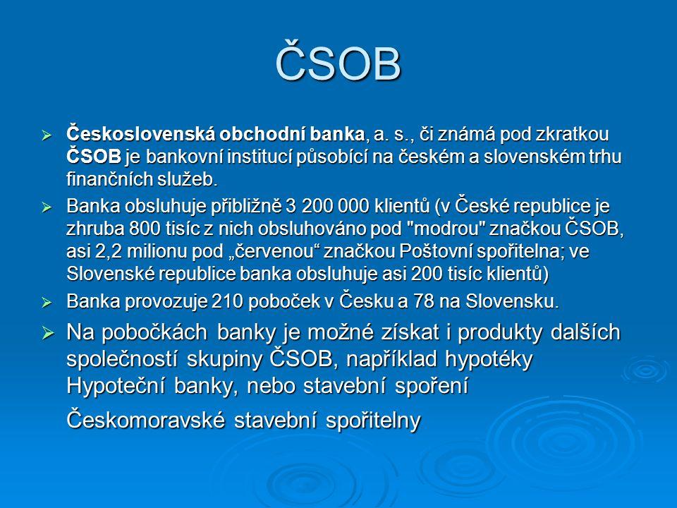 ČSOB Československá obchodní banka, a. s., či známá pod zkratkou ČSOB je bankovní institucí působící na českém a slovenském trhu finančních služeb.