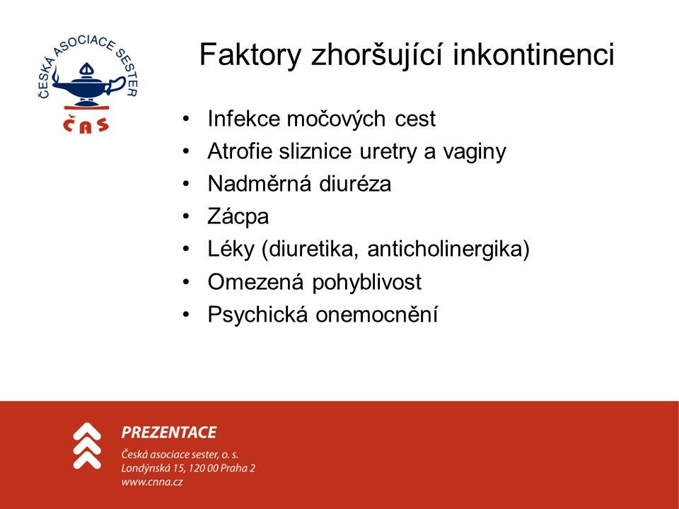 Faktory zhoršující inkontinenci