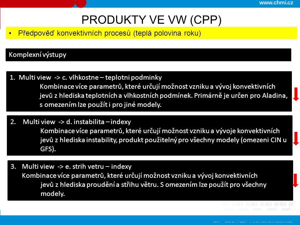 PRODUKTY VE VW (CPP) Předpověď konvektivních procesů (teplá polovina roku) Komplexní výstupy. 1. Multi view -> c. vlhkostne – teplotni podminky.