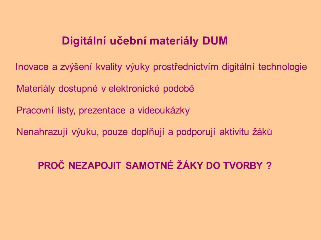 Inovace a zvýšení kvality výuky prostřednictvím digitální technologie