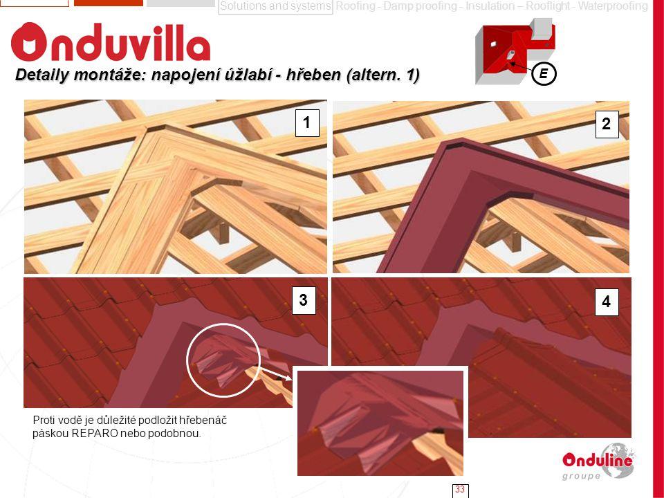 Detaily montáže: napojení úžlabí - hřeben (altern. 1)