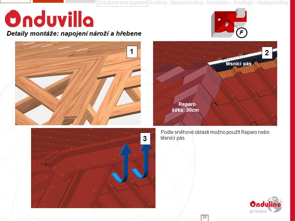 1 2 3 Detaily montáže: napojení nároží a hřebene F těsnící pás Reparo